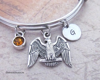 American Bald Eagle Bangle Personalized Hand Stamped Initial Birthstone Antique Silver Eagle Stainless Steel Expandable Bangle Bracelet