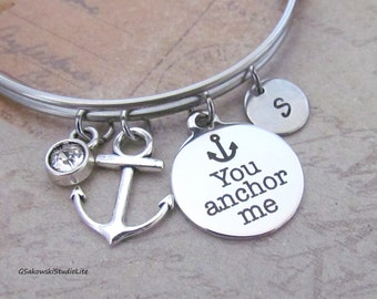 Anchor Bangle Personalized Hand Stamped Initial Birthstone You anchor me Antique Silver Anchor Charm Stainless Steel Expandable Bracelet