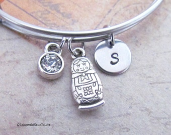 Matryoshka Bangle Personalized Hand Stamped Initial Birthstone Antique Silver Russian Nesting Doll Stainless Steel Expandable Bracelet