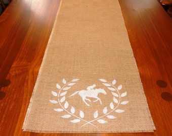 Equestrian Burlap Runner, Horse Table Runner