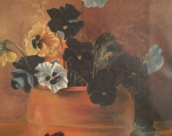 Victorian pansy oil on canvas
