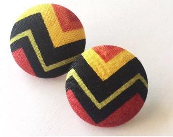 Rasta Chevron Fabric Button Earrings