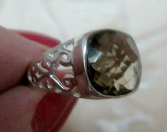 Smokey Quartz Faceted Sterling Silver Ring 6
