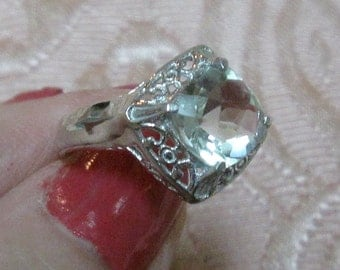Green Amethyst Faceted Sterling Silver Ring Size 6