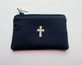 Boy's Rosary Pouch, First Communion, Navy Blue, Catholic Gift, Sacrament