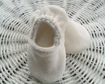 Ready to Ship - Organic Bamboo Velour and Organic Bamboo Fleece Reversible lnfant Shoes, Baby Shower Gift