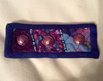 Coppery Blue Quilted Pin Brooch