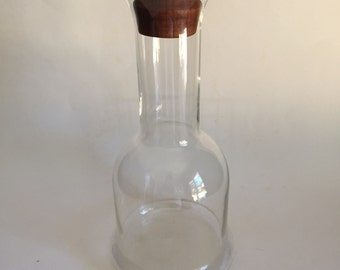 Vintage Mid Century Danish Modern Dansk Glass Decanter With Teak Stopper