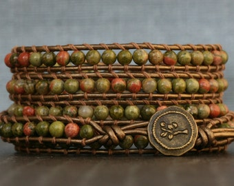 wrap bracelet- unakite on bronze leather- 5 wrap - green and pink