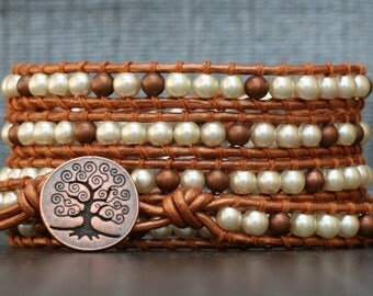 READY TO SHIP copper bracelet - pearl and metal wrap bracelet - antiqued copper and cream pearls on copper leather - tree of life button
