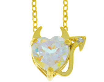 14Kt Yellow Gold Plated Mercury Mist Mystic Topaz & Diamond Devil Heart Pendant