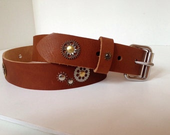 "Steampunk Leather Belt 1.5"" Cosplay post apocalyptic  (sized to fit)"