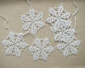 Crochet snowflakes silver gray (set of 6) Christmas home decors Christmas ornaments Wedding decors appliques