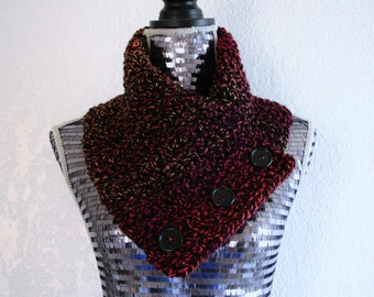 Black and Bright Colors Chunky Scarf Crochet Knit Cowl Neckwarmer Cowl with Wood Buttons, Ready to Ship