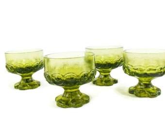 Dessert Goblet * Tiffin Franciscan Madiera * Citron Green * Set of 4
