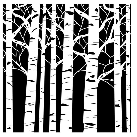 """Aspen Trees 12 x12"""" Stencil /  template design perfect for mixed media, scrapbooking, journaling and so much more"""