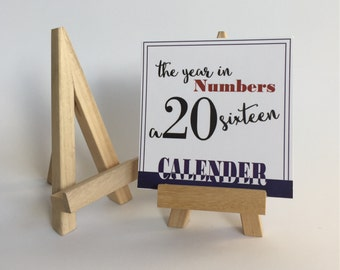 SALE 2016 Calendar, 2016 Desk Calendar, Year in Numbers