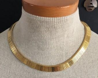 Vintage Gold Tone Choker Fringe Tribal Style Necklace