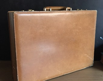 Vintage Di Lana Italy Leather Combination Briefcase Bon Voyage Bazaar Beverly Hills, California