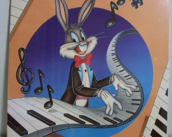 "BUGS BUNNY Playing Piano Vintage 1988 Poster 22"" x 28"" New In Shrink wrap"