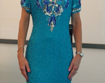 Stunning Leslie Fay 'With Tags' Aqua Evening Dress 80's!