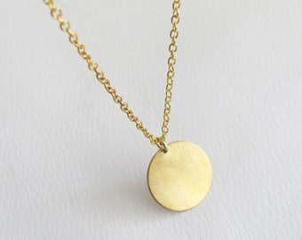 Mothers Day Sale Brass Coin Necklace - 14k Gold Filled Chain - Simple & Minimal Necklace - Charm Necklace - Everyday Necklace - Coin Necklac