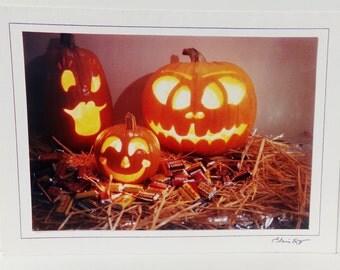 Vintage Halloween Pumpkin Jack O Lantern Photograph Card, Trick or Treat, Halloween Pumpkin Photograph, Jack O Lantern Photograph