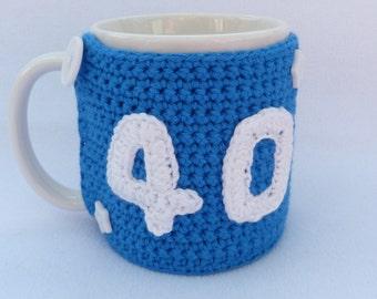 40th Birthday bright blue crochet mug cozy. Homewares, birthday gift, accessories, 40th gift