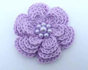 Large lilac crochet 4 layer flower brooch (3 ins diameter)