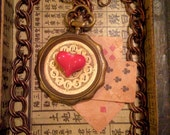 Steam punk Queen of Hearts, vintage  clock necklace with cards and geart charm.