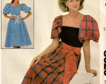 """A Fitted Bodice, Full Gathered Skirt, Elbow-Length Puff Sleeve Dress in 2 Lengths Sewing Pattern for Women: Size 12 Bust 34"""" • McCall's 8323"""