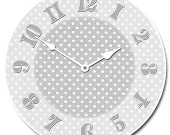 Gray Dotted Swiss Wall Clock