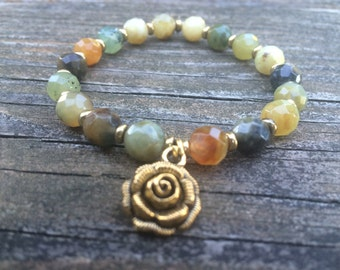 Flower Jade Bracelet with Flower Charm