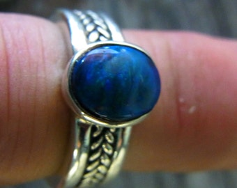 Ring Solid Opal Size M 1/2 or U.S. 6 1/2 -Sterling Silver  - Turquoise/Blue Pattern 9 x 6 mm stone from Lightning Ridge