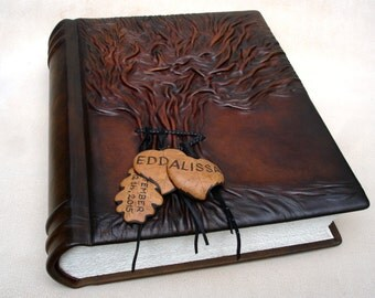 "Leather Wedding Photo Album Tree of Life, 10''x 13"", Large Photo Album, Personalized Album, Brown Rustic Leather"