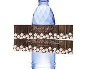 Custom Printable Water Bottle Label - Woodgrain & Roses Design
