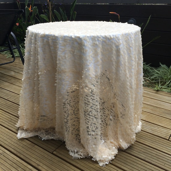 Ivory teardrop sequin round table cloth 90 or 108 for 108 inch round tablecloth fits what size table