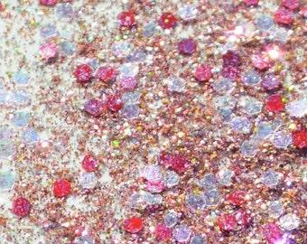 Solvent Resistant Glitter Mix, Pink and Gold, Rose gold Glitter Blend - 2 Tsp of Glitter, For Slime, Scrapbooking, Nail Polish, Frankening