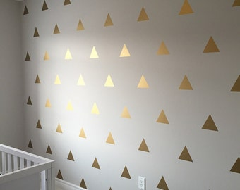 Gold Triangle Decals - Golden Triangle Stickers - Gold Vinyl Triangle Wall Art  0036