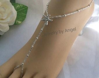 SALE Silver Stardust Rhinestone Starfish Barefoot Sandal - Foot Jewelry
