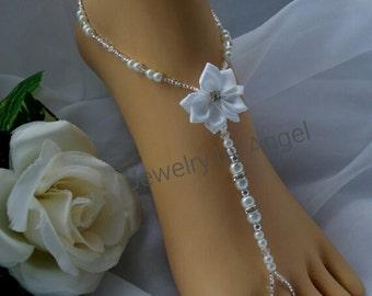 Rhinestone Flower & Pearl Barefoot Sandal Foot Jewelry