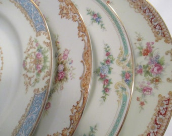 Vintage Mismatched China Dinner Plates for Wedding, Bridal Gift, Dinner Party, Garden Party, Christmas, Thanksgiving - Set of 4