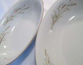 Vintage Golden Harvest Fine China of Japan Oval Vegetable Serving Bowls - Set of 2
