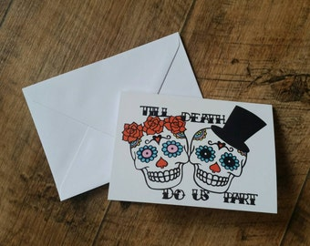 Mr and Mrs sugar skull till death do us part printed wedding card