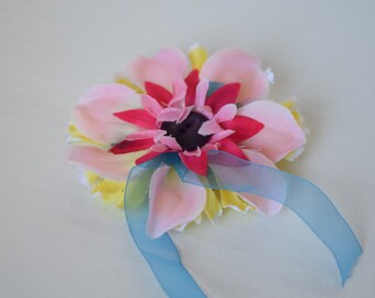 Pink And Yellow Flower Hair Clip