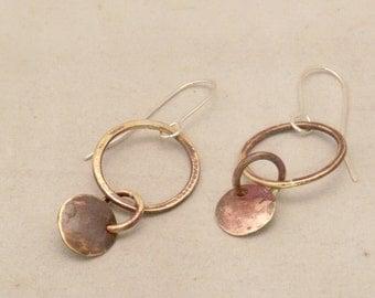 Brass dangle earrings with silver ear wire
