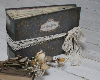 Rustic wedding photo album,hand bound gray wedding scrapbook -  Made To Order A4 8.5x11''
