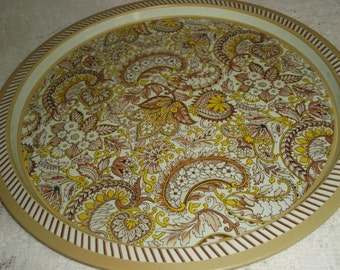 """Large Metal tray made in Brazil, Retro Paisley Pattern in Yellow,beige and browns,Metal serving tray, 13"""" round"""