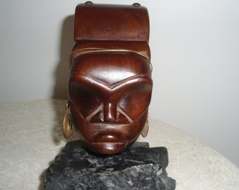 """Wood Tribal Woman Bust mounted on black rough cut stone, Collectible Ethnic tribal statue, 8"""" x 5"""" Tribal Figurine"""