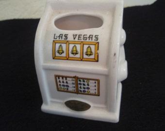 Vegas Slot Machine, Vintage Ceramic Slot machine toothpick/match holder, desk or table souvenir slot machine, Las Vegas travel souvenir